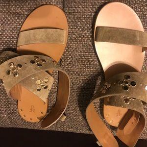 $275 Frye Beaded Gladiator Flat Sandals Khaki  8